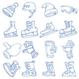Doodle vector isolated Winter sports Stock Photography