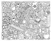 Doodle vector monochrome illustration. Modern art for coffee royalty free stock photography