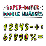 Doodle vector numbers and and mathematical symbols with funny 3d Royalty Free Stock Images