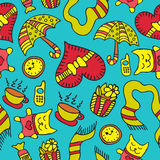 Doodle vector romantic seamless pattern. Doodle romantic seamless pattern with love, hearts, umbrella, clock, cat etc. Background for use in design, web site Royalty Free Stock Images