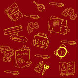 Doodle of vector school with red backgrounds Royalty Free Stock Photography