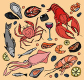 Doodle vector sea food Royalty Free Stock Images