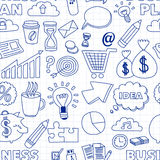 Doodle vector seamless pattern with business elements Stock Photography