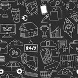 Doodle vector seamless pattern with business elements Royalty Free Stock Images