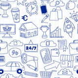 Doodle vector seamless pattern with business elements Stock Photo