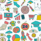 Doodle vector seamless pattern with business elements Stock Photos