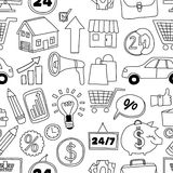 Doodle vector seamless pattern with business elements Stock Image