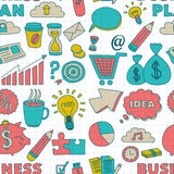 Doodle vector seamless pattern with business elements Royalty Free Stock Photo