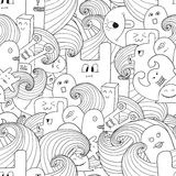 Doodle vector seamless pattern with monsters Stock Photography