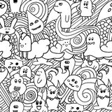 Doodle vector seamless pattern with monsters. Funny monsters graffiti. can be used for backgrounds. T-shirts Stock Image