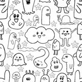 Doodle vector seamless pattern with monsters. Funny monsters graffiti. can be used for backgrounds. T-shirts Royalty Free Stock Photos