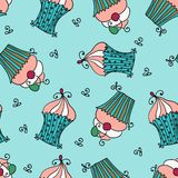 Doodle vector seamless pattern with sweet cupcakes Royalty Free Stock Image