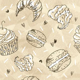Doodle vector seamless pattern. Vector Sketch Style Illustration. Vintage Grange coffee background Stock Photos