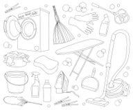 Doodle vector set of cleanup. Vector illustration, EPS 10 royalty free illustration