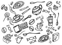 Doodle vector set of coffee Royalty Free Stock Photo