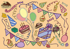 Doodle vector set of happy birthday. Hand drawn sketch illustration Stock Image