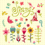 Doodle vector set of spring flowers with lettering Royalty Free Stock Images