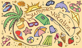Doodle vector set of summer vacation Royalty Free Stock Photo