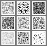 Doodle vector square tags, labels. Or greeting cards with textured lines, dots, scribbles and strokes for graphic design Stock Photos