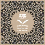 Doodle vector tribal ethnic style frame.Bohemian Invitation card royalty free stock photos