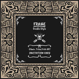 Doodle vector tribal ethnic style frame .Native Invitation card. Royalty Free Stock Photos