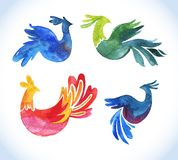 Doodle vector watercolor bird set.Cute Royalty Free Stock Photography