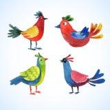 Doodle vector watercolor bird set Stock Image