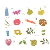 Doodle Vegetables and healthy food Royalty Free Stock Photo