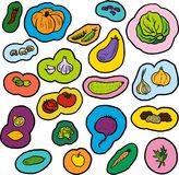 Doodle vegetables set Stock Image