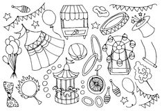 Doodle vektor circus Royalty Free Stock Photo