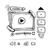Doodle video player Stock Photo