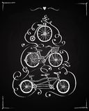 Doodle vintage bicycle postcard. Vector hand drawn vintage bicycle set  with calligraphy on blackboard background. Postcard  illustration. Editable isolated Royalty Free Stock Images