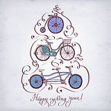 Doodle vintage bicycle set. Vector hand drawn vintagel bicycle set on paper background with calligraphy. New Year's illustration. Editable isolated objects Stock Images
