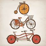 Doodle vintage bicycle set. Vector hand drawnvintagel bicycle set on paper background. Editable isolated objects Royalty Free Stock Photos