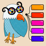 Doodle vintage cartoon comic funny bird with Royalty Free Stock Photo