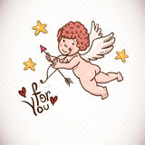 Doodle Vintage Greeting Card with Cartoon Cupid Stock Photography