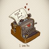Doodle Vintage Greeting Card with Retro Typewriter Royalty Free Stock Photography