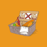 Doodle vintage picnic basket with food and drinks Royalty Free Stock Image