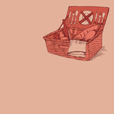 Doodle vintage picnic basket with food and drinks Stock Photo