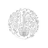 Doodle Violin coloring page. Royalty Free Stock Photography