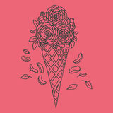 Doodle wafer cone with roses Royalty Free Stock Image