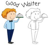 Doodle waiter character with serving tray royalty free illustration