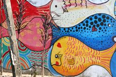 Doodle wall with fish. This is a real photo photo of the Oriental Seaside Town (Southern Taiwan stock photo