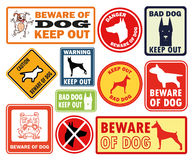 Doodle warning dog sign banner Royalty Free Stock Image
