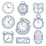 Doodle watch, clock vector icons. Hand drawn time vector icons isolated. Clock and watch time, illustration of alarm drawing, doodle stopwatch royalty free illustration