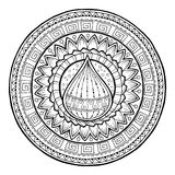 Doodle water drop on tribal circle ornament. Hand drawn art spring mandala. Royalty Free Stock Image