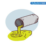 Doodle water pollution, vector illustration. Royalty Free Stock Images