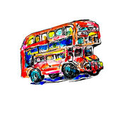 Doodle watercolor sketch painting of London symbol - red bus. Vector illustration Royalty Free Stock Images