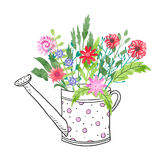 Doodle watering can with bright watercolor flowers. Royalty Free Stock Images