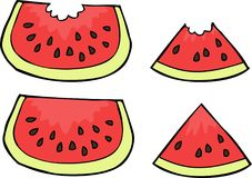 Doodle watermelon slices Royalty Free Stock Photos